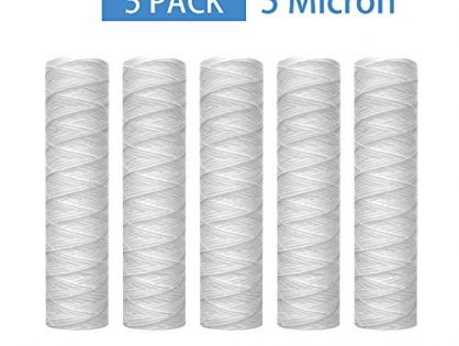 "Lafiucy 5 Micron 10"" x 2.5"" String Wound Sediment Water Filter Cartridge,Whole House Sediment Filtration, Universal Replacement for Any 10 inch RO Unit"