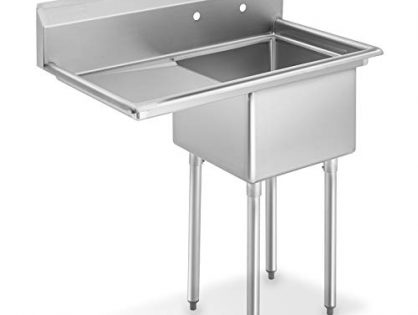 """GRIDMANN NSF Stainless Steel 18"""" Single Bowl Commercial Kitchen Sink with Left Drainboard - 12 in. Deep"""