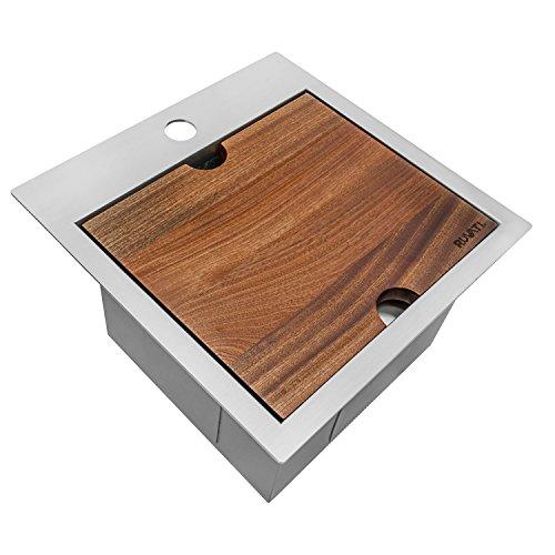 Ruvati 15 x 15 inch Workstation Drop-in Topmount Bar Prep RV Sink 16 Gauge Stainless Steel - RVH8215