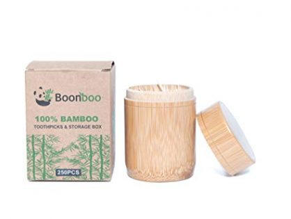 Boonboo Double-Sided Toothpicks | 100% Bamboo Toothpicks & 100% Bamboo Storage Box | Sustainable & Biodegradable |250 Count