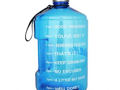 BuildLife 43OZ1.3L Water Bottle Motivational Fitness Workout with Time Marker/Drink More Daily/Clear BPA Free/Large Capacity Throughout The DayLight Blue,43OZ