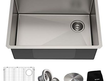 Kraus KHU110-27 Standart PRO 27-inch 16 Gauge Undermount Single Bowl Set 5 Item Bundle: Sink, Bottom Grid, Assembly, Drain Cap, Kitchen Towel, 27 Inch, Stainless Steel