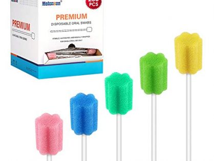 250 Pcs Oral Swabs-Unflavored & Sterile Disposable Dental Swabsticks for Mouth Cleaning- Individually Wrapped Blossom 5 Colors