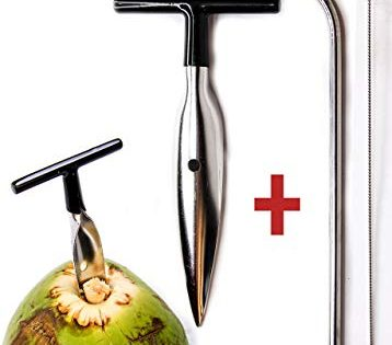 Ken's CocoMon Coconut Opener Tool + Stainless Straw for Fresh GREEN Young Fruit Black Rubber Handle EZ Easy Grip SAFE with Stainless Steel Drinking Straws 1 CocoMon + 1 Straw