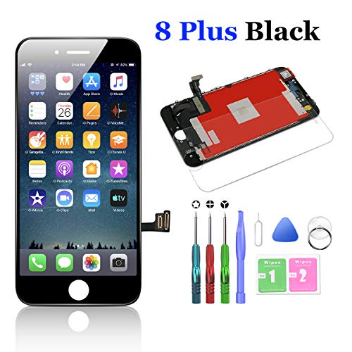 Compatible with iPhone 8 Plus Screen Replacement Black 5.5 Inch LCD Display with 3D Touch Screen Digitizer Frame Display Full Assembly Include Full Free Repair Tool Kits