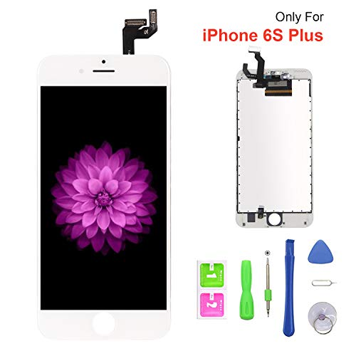 """FFtopu Compatible with iPhone 6s Plus Screen Replacement White, FFtopu LCD Display 3D Touch Screen Digitizer Replacement Frame Cell Assembly Set with Free Repair Tools 5.5"""""""