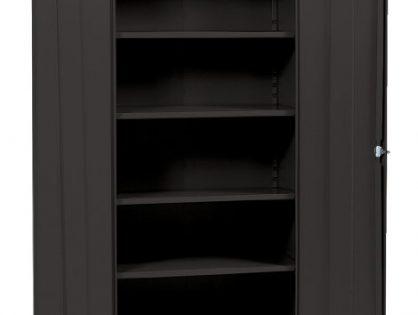 "Sandusky Lee Black Steel SnapIt Storage Cabinet, 4 Adjustable Shelves, 72"" Height x 36"" Width x 18"" Depth"